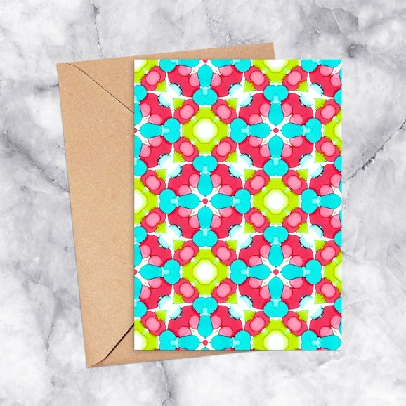 Printable Greeting Card Kaleidoscope 2301