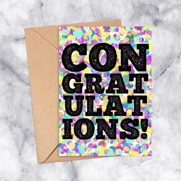 Congratulations Printable Greeting Card Letterpress & Rainbow Confetti