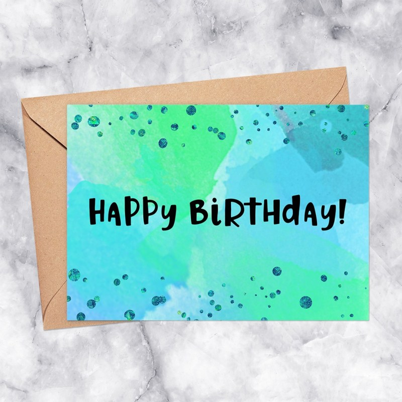 Happy Birthday Printable Greeting Card: Green & Blue Watercolor with Confetti