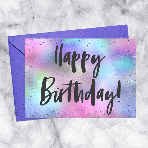 Happy Birthday Printable Card Pastel Holographic Foil Sparkle