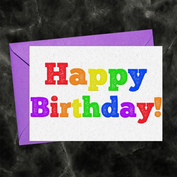 Happy Birthday Printable Greeting Card Light Rainbow Letterpress