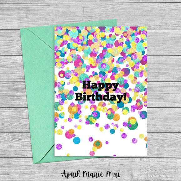 Happy Birthday Printable Greeting Card Metallic Rainbow Confetti on White