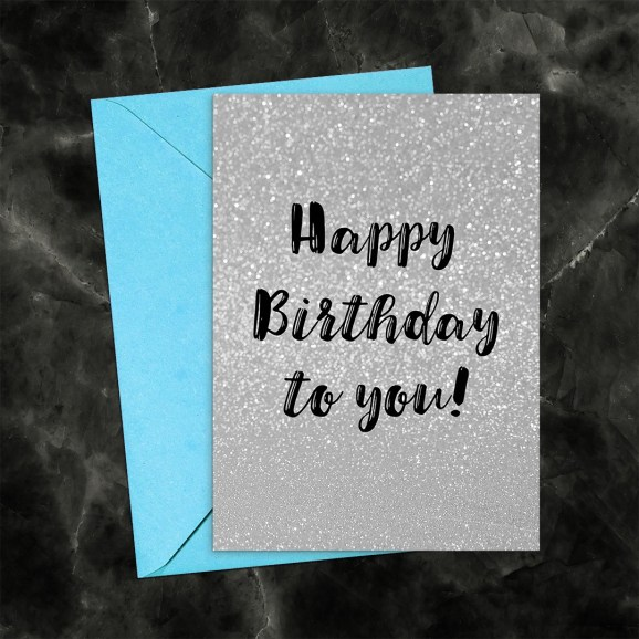 Happy Birthday Silver Glitter Printable Greeting Card