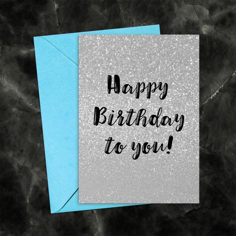 Happy Birthday Silver Glitter Printable Greeting Card