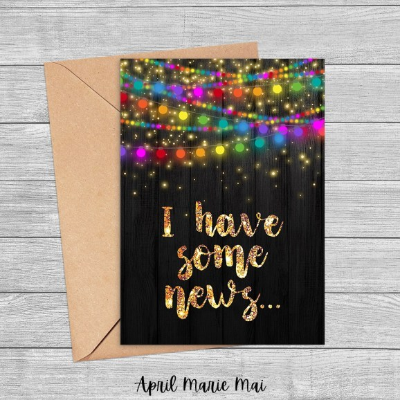 I Have Some News Rainbow String Lights Printable Greeting Card