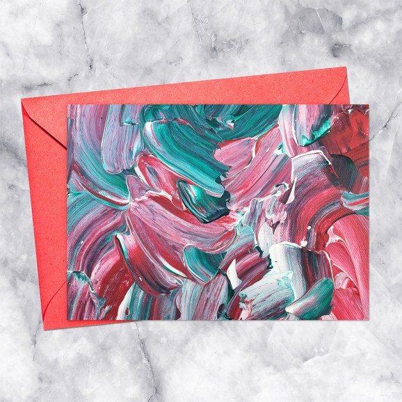 Color Explosion Holly Impasto Painting Printable Greeting Card