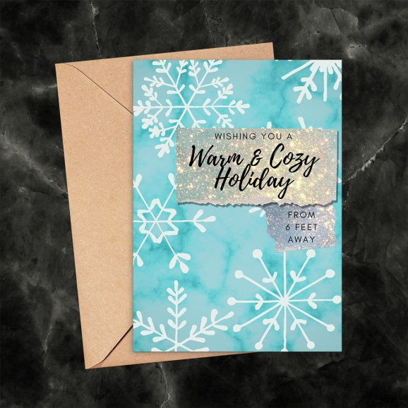 Warm and Cozy Holiday Snowflakes 6 Feet Away Printable Card