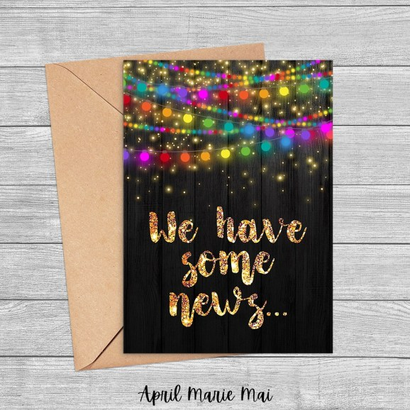 We Have Some News Rainbow String Lights Printable Greeting Card