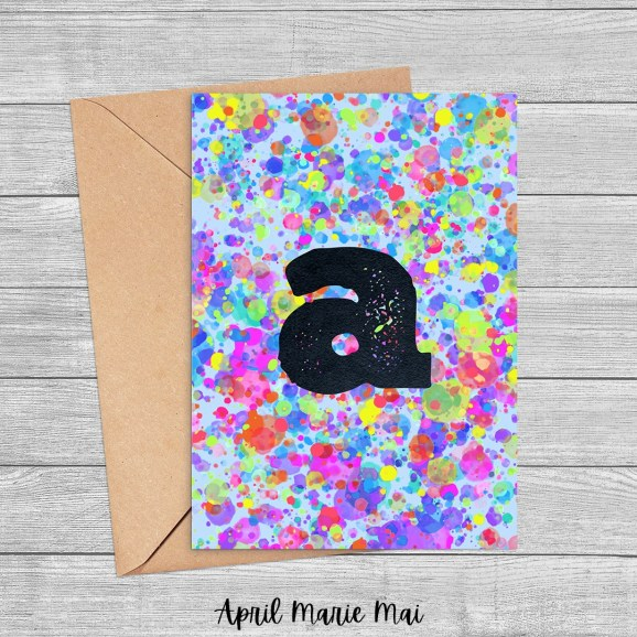 Letter A Monogram Rainbow Paint Splatter Printable Greeting Card