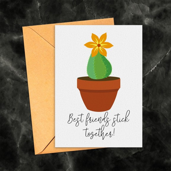 Best Friends Stick Together Cactus Printable Card Instant Download