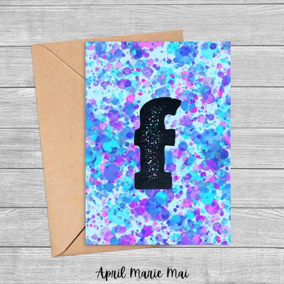 Letter F Monogram Paint Splatter Printable Greeting Card in Blue, Purple & Pink