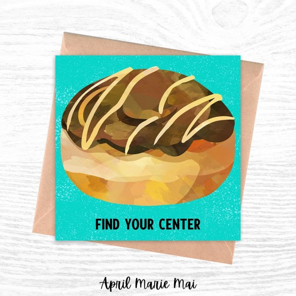 Find Your Center Donut Square Printable Greeting Card