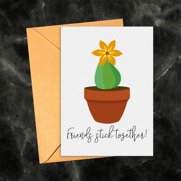 Friends Stick Together Cactus Printable Greeting Card