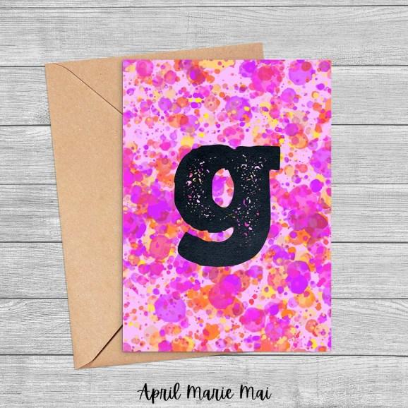Letter G Monogram Paint Splatter Printable Greeting Card in Pink, Purple & Yellow
