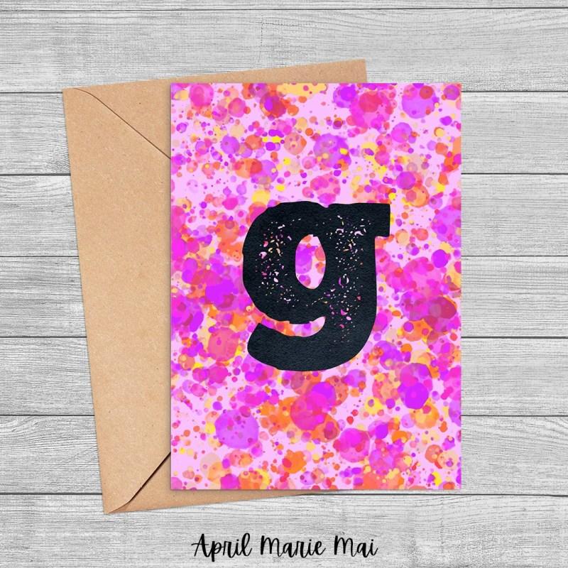 Letter G Monogram Paint Splatter Printable Card in Pink, Purple & Yellow
