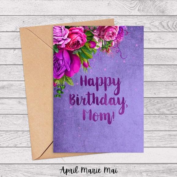 Happy Birthday, Mom! Pink & Fuchsia Roses on Purple Luxury Printable Card