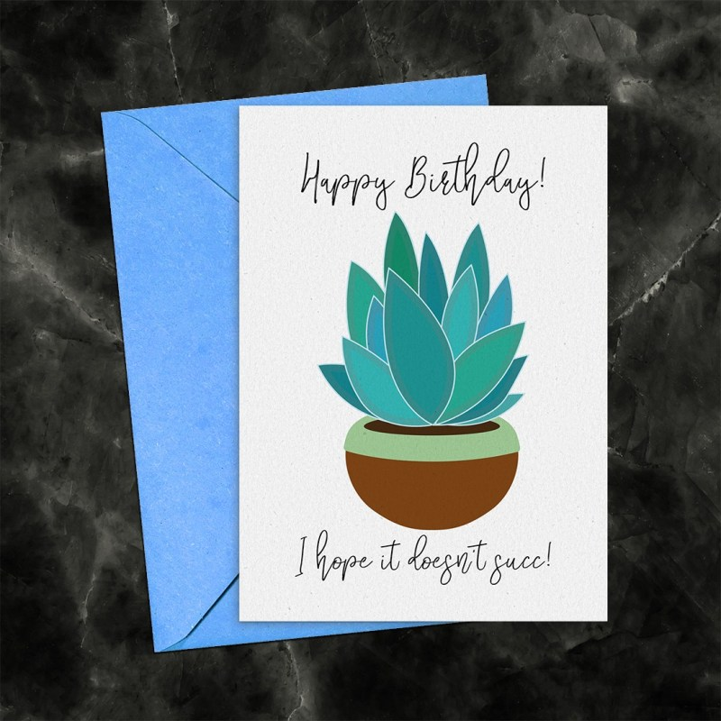 Happy Birthday Succulent Printable Card