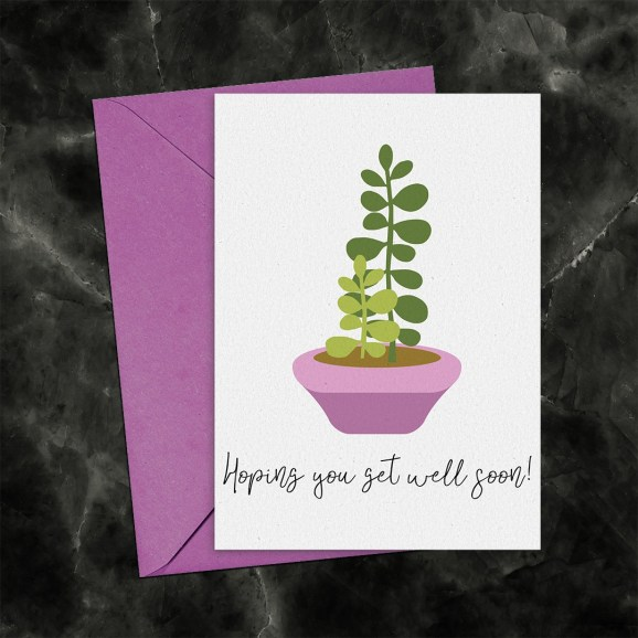 Hoping You Get Well Soon Jade Plant Printable Card