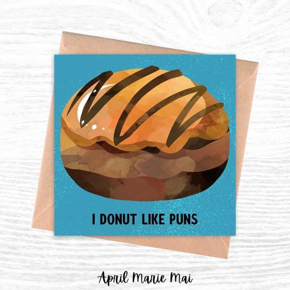 I Donut Like Puns Square Printable Greeting Card