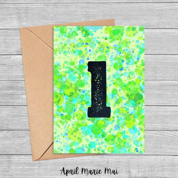 L Monogram Letter Paint Splatter Printable Greeting Card in Green, Seafoam & Blue
