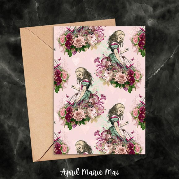 Alice with Roses Repeat, Pink & Red Alice in Wonderland Printable Greeting Card