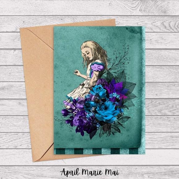 Alice & Flowers Teal & Purple Alice in Wonderland Printable Greeting Card