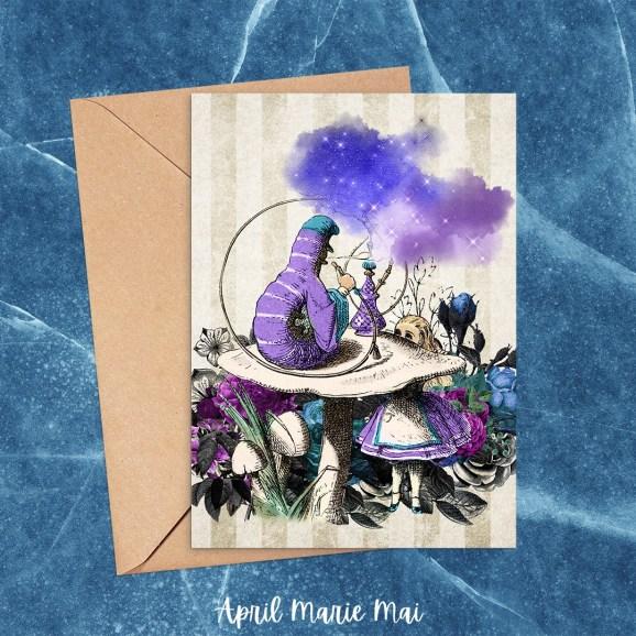 Alice & Caterpillar Teal & Purple Alice in Wonderland Printable Greeting Card