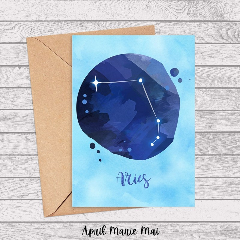 Aries Zodiac Sign Watercolor Printable Card