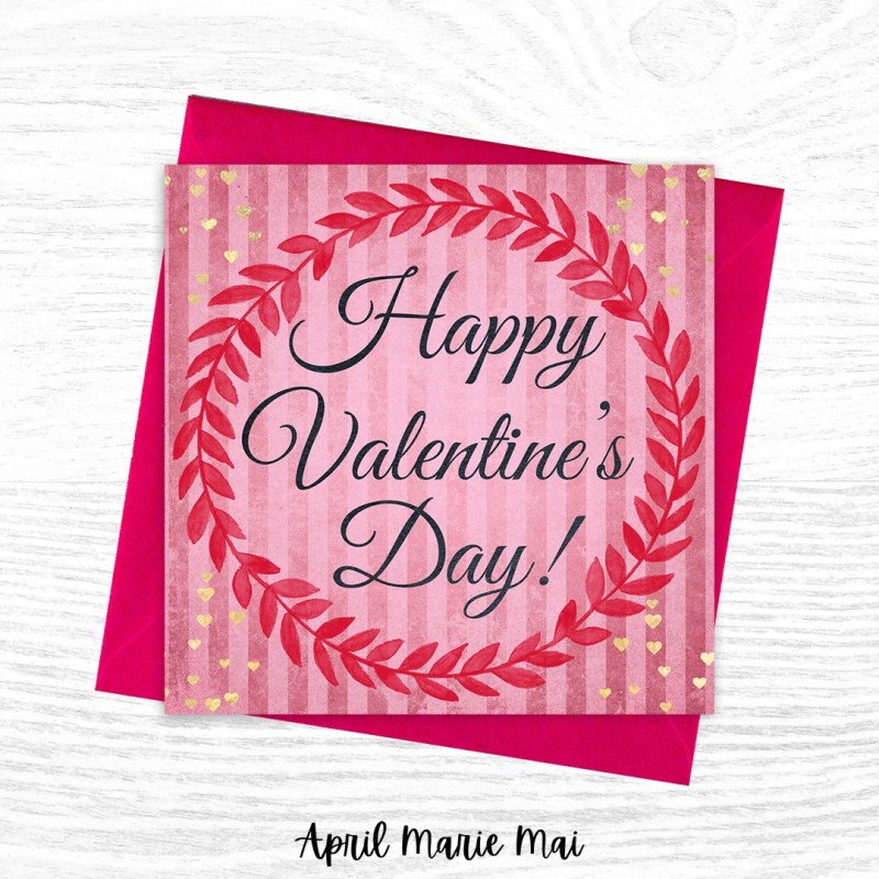Happy Valentine's Day Wreath Vintage Stripes with Gold Hearts Square Printable Greeting Card