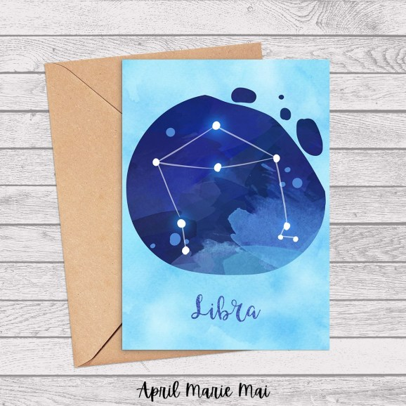 Libra Zodiac Sign Watercolor Printable Greeting Card