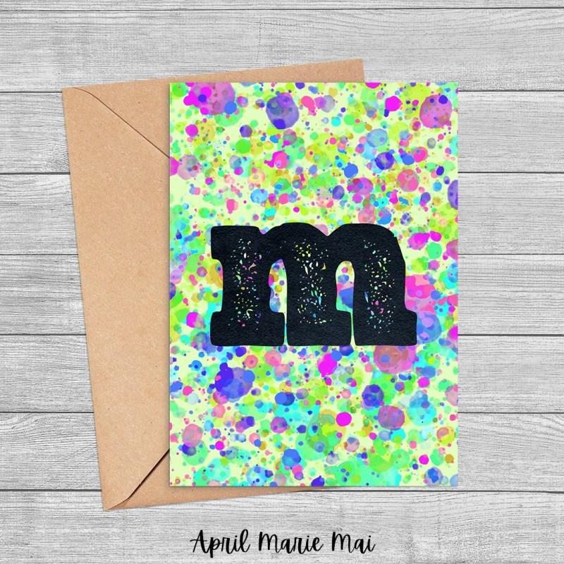 M Monogram Letter Paint Splatter Printable Card in Green, Blue & Purple