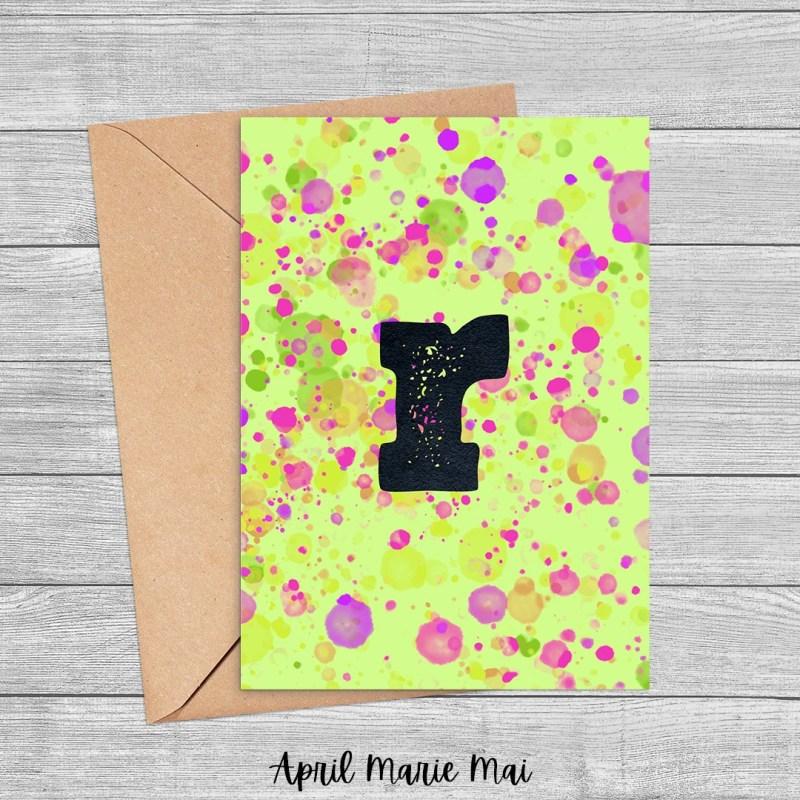 R Monogram Letter Paint Splatter Printable Greeting Card in Yellow, Green & Purple