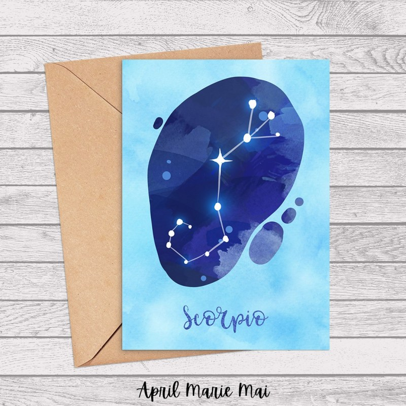 Scorpio Zodiac Sign Watercolor Printable Greeting Card