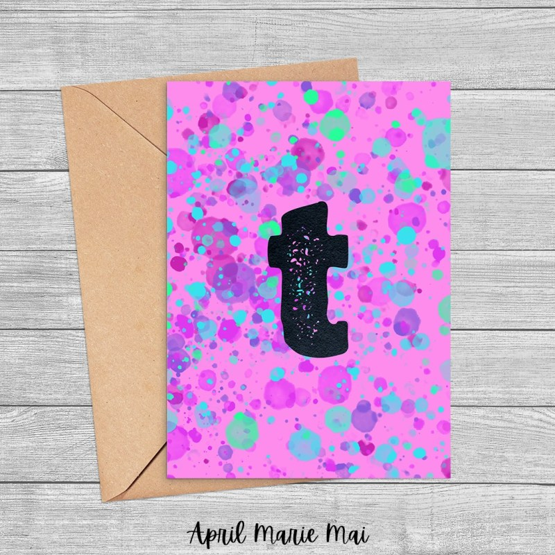 T Monogram Letter Paint Splatter Printable Greeting Card in Purple, Fuchsia & Teal