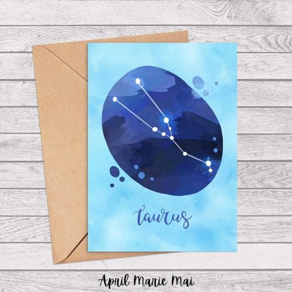 Taurus Zodiac Sign Watercolor Printable Greeting Card