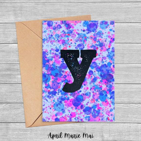 Y Monogram Letter Paint Splatter Printable Greeting Card in Purple, Blue & Pink