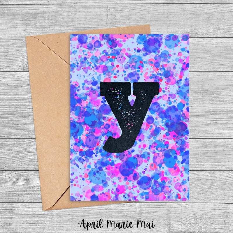Y Monogram Letter Paint Splatter Printable Greeting Card in Purple, Blue & Pink