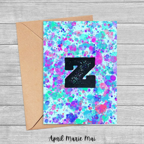 Z Monogram Letter Paint Splatter Printable Greeting Card in Seafoam, Purple & Blue