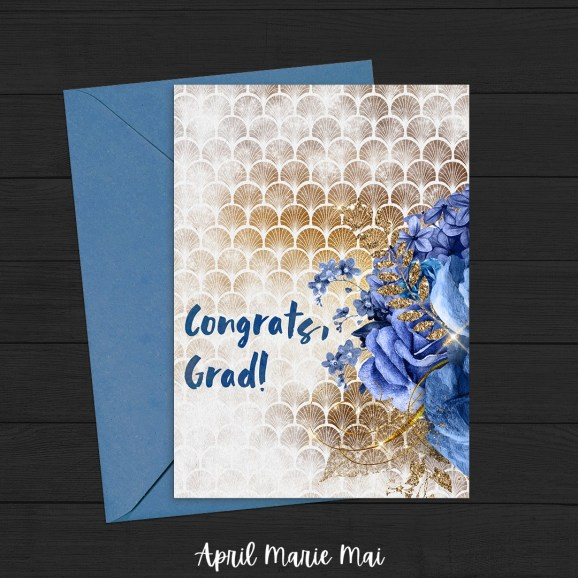 Congrats, Grad! Blue & Gold Bouquet Printable Greeting Card