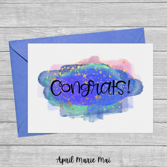 Congrats! Magic Cloud & Stars Printable Greeting Card