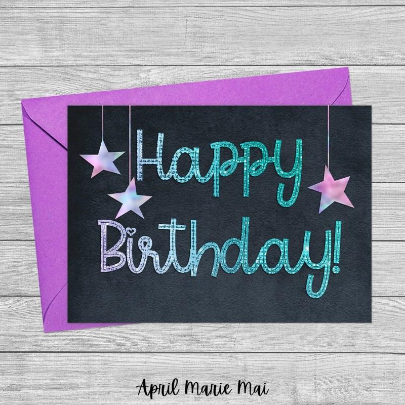 Happy Birthday Monoline Sparkle with Hanging Stars on Velvet Printable Greeting Card