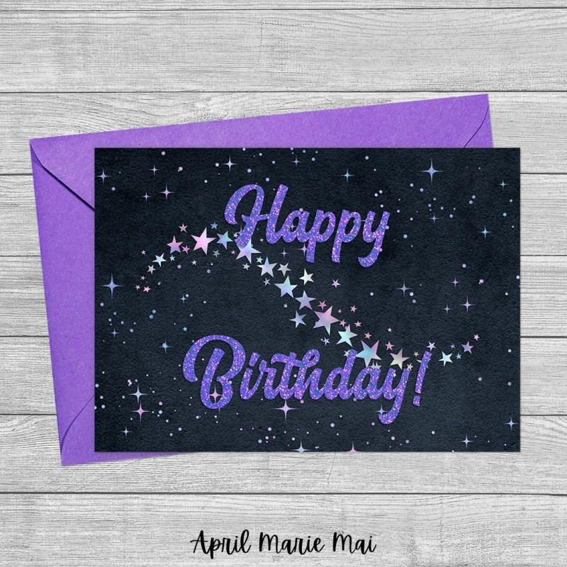 Happy Birthday Iridescent Starry Sky & Purple Glitter on Black Velvet Printable Greeting Card