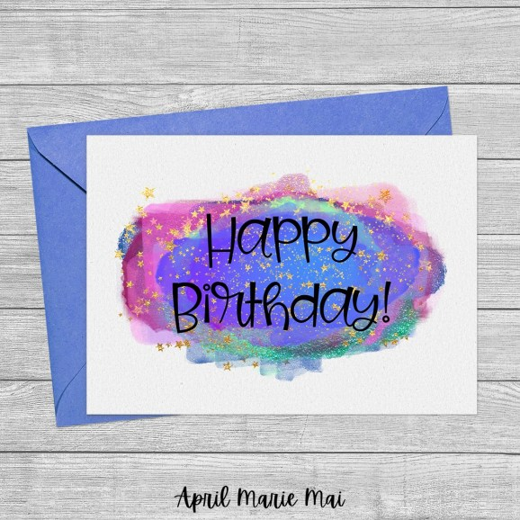 Happy Birthday Magic Cloud & Stars Printable Greeting Card