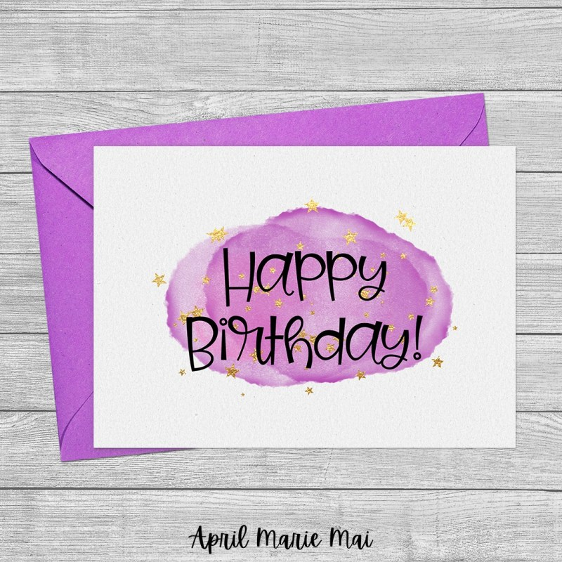 Happy Birthday Purple Cloud & Stars Printable Greeting Card