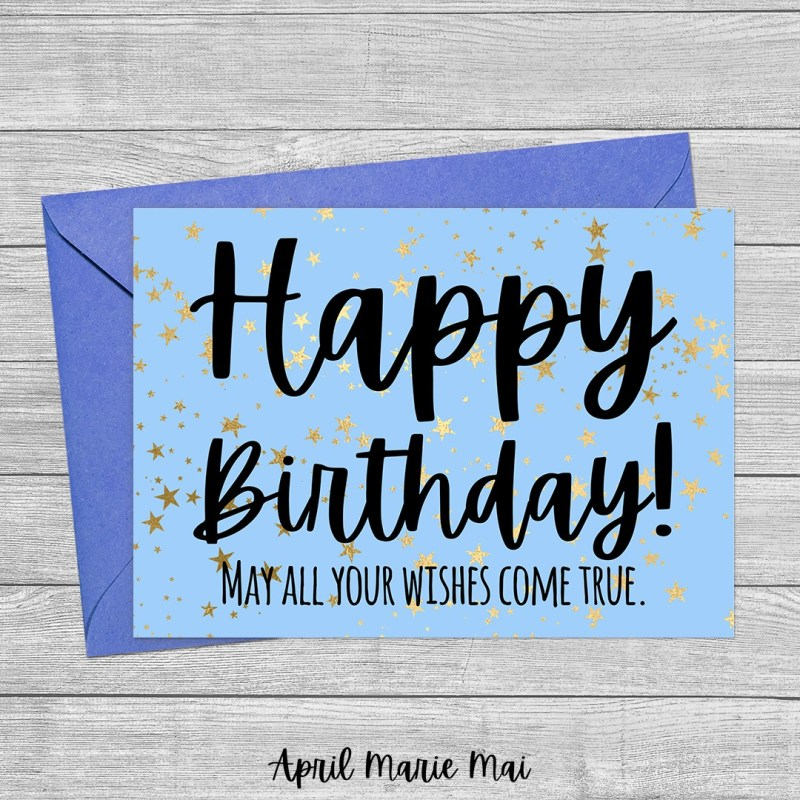 Happy Birthday! May All Your Wishes Come True. Blue Sky & Gold Stars Printable Greeting Card