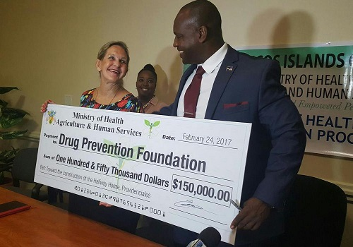 Turks and Caicos Government gives Turks and Caicos Drug Prevention Foundation a donation of $150,000