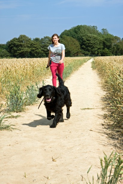 woman-and-dog-walking