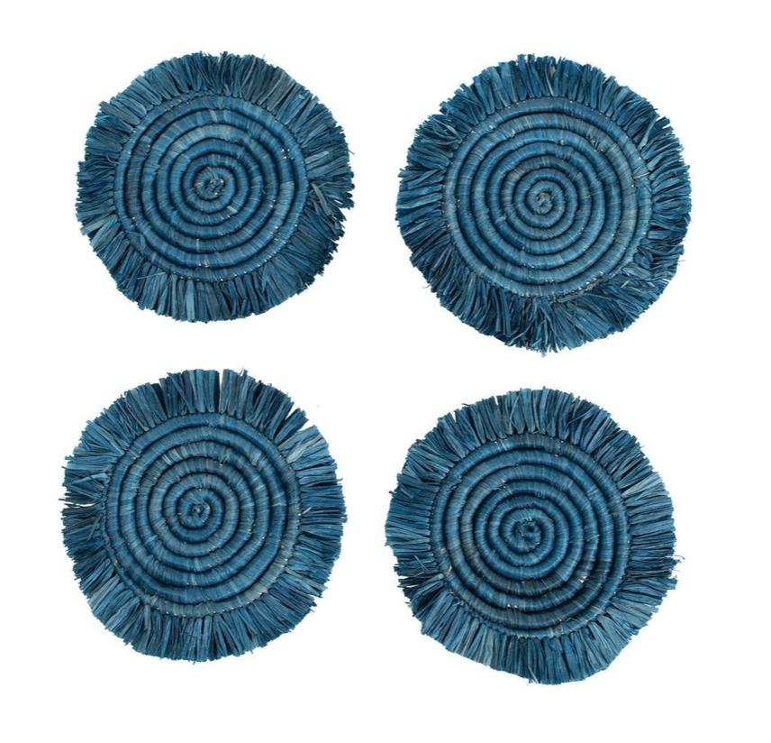 Blue Fringe Coaster, Handmade