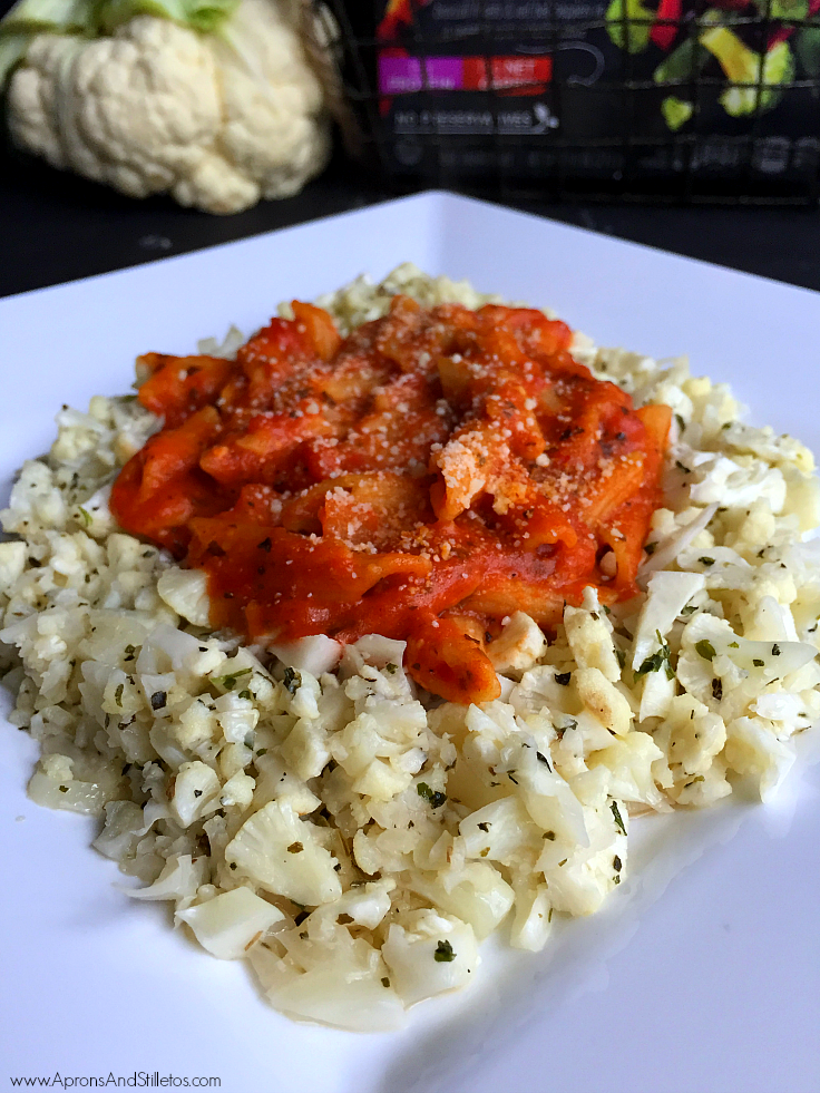 Spicy Penne Arrabbiata and Cilantro Lime Cauliflower Rice