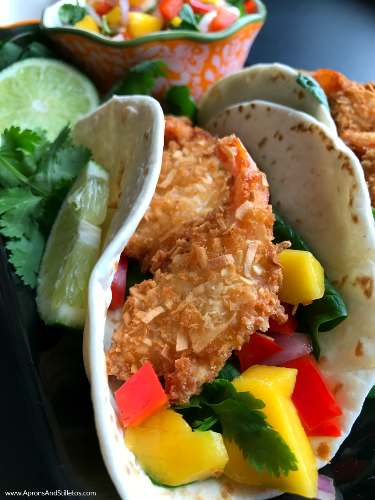 Coconut Shrimp Tacos with Mango Salsa